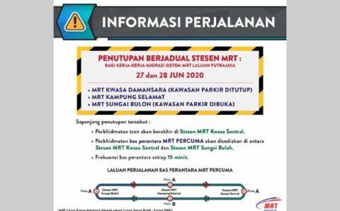 3 stesen MRT Laluan Kajang ditutup Sabtu, Ahad ini   Nasional